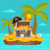Parrot on island and chest of gold