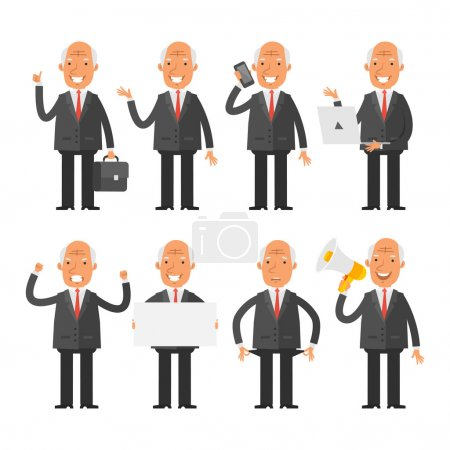 Old businessman in different poses