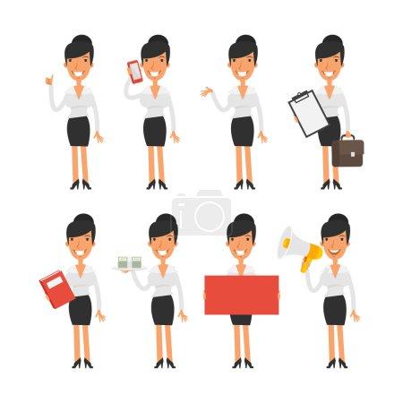 Illustration pour Illustration vectorielle, Femme d'affaires dans différentes poses, format EPS 8 - image libre de droit