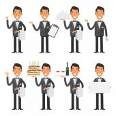 Vector Illustration Waiter in various poses format EPS 8