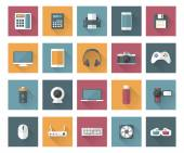 Set of techology and multimedia devices icons