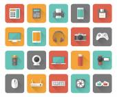 Set of 25 flat office business media and web design icons with long shadow effect
