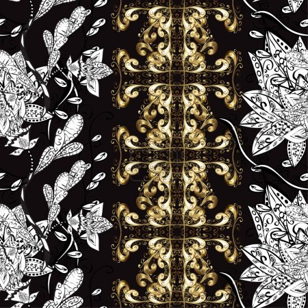 Illustration for Abstract beautiful background, royal, damask ornament, vintage, rich seamless pattern, luxury, artistic vector wallpaper, floral, oldest style fashioned arabesque fabric for decoration and design - Royalty Free Image