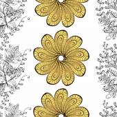 Gold flower with doodles seamless pattern on a white background