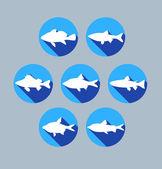 Sada barevných ryb ikon