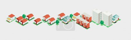 Illustration for Isometric building. Accurate illustration for drawing large compositions - Royalty Free Image