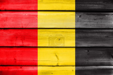 Flag of Besancon, France, painted on old wood plank background