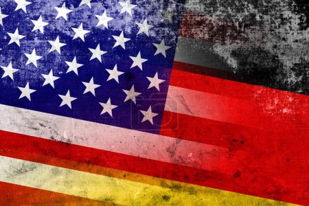 USA and Germany Flag with a vintage and old look