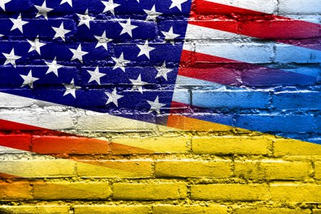 Ukraine and USA Flag painted on brick wall