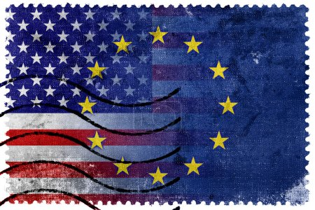 United States and European Union Flag - old postage stamp