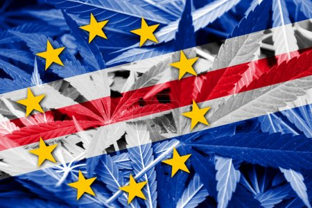 Cape Verde Flag on cannabis background. Drug policy. Legalization of marijuana