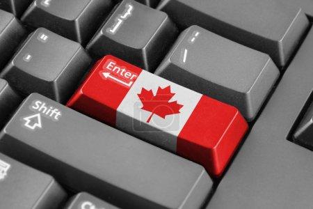 Photo pour Entrez le bouton avec le drapeau du Canada - image libre de droit