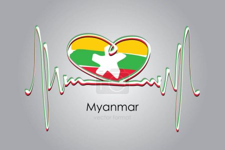Illustration for Hand painted heart and Myanmar Flag in Vector Format - Royalty Free Image