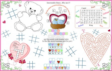 Placemat Valentine Printable Activity Sheet 4