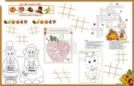 Placemat Thanksgiving Printable Activity Sheet 2