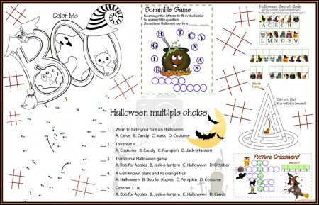Placemat Halloween 7 Printable Activity Sheet