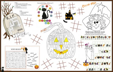 Placemat Halloween Printable Activity Sheet 5