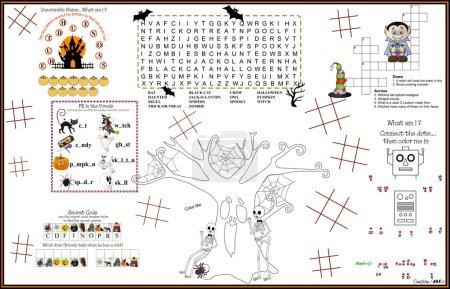 Placemat Halloween Printable Acitvity Sheet 10