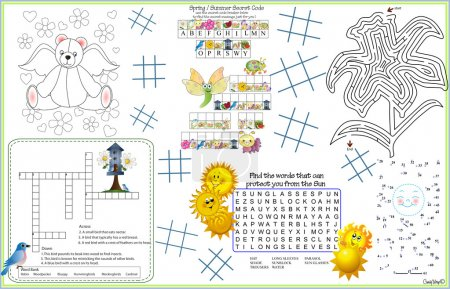 Illustration for Keep the little ones, or little ones at heart entertained by having them solve different puzzles like connect the dots, color me, crossword puzle, secret code, quiz, maze, and tic tac toe games. Answers to the puzzles are in the VECTOR file - Royalty Free Image