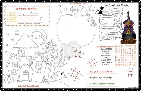 Placemat Halloween Printable Activity Sheet 12