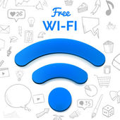 Vector free wi-fi sign isolated abstract illustration with set of hand drawn icons doodle elements