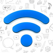 Vector blue wi-fi sign abstract illustration with set of hand drawn icons doodle elements
