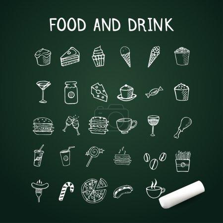 Photo pour Aliments et boissons icônes doodle dessinées à la main sur tableau - image libre de droit