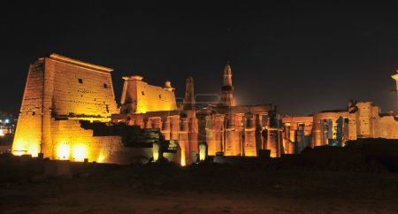 Illuminated Luxor Temple. The Peristyle Court of A...