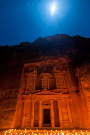 Petra, Jordan at Night lit by the Moon