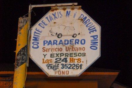 Panneau de service de taxi, Lac Titicaca, Pérou