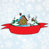 Vector Christmas landscape with lonely rural hut and red baner for text