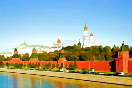 Photo for Watercolor depicting of the Moscow Kremlin on a sunny day - Royalty Free Image
