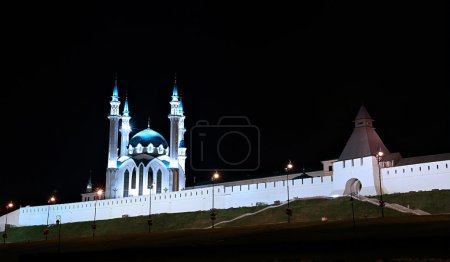 Kul-Sharif mosque in Kazan Kremlin at night in the light of the