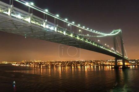 Verrazano Narrows Bridge in New York City at night
