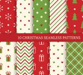 10 Christmas different seamless patterns