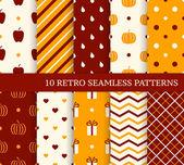 10 retro different seamless patterns Autumn theme Endless text