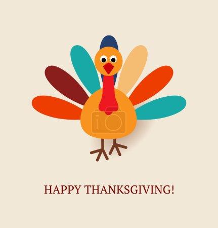 Illustration pour Mignon dessin animé coloré d'oiseau de dinde pour la célébration Happy Thanksgiving. Illustration vectorielle. Peut être utilisé comme carte de voeux, flyer, affiche ou bannière . - image libre de droit