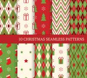 Set of Christmas different seamless patterns