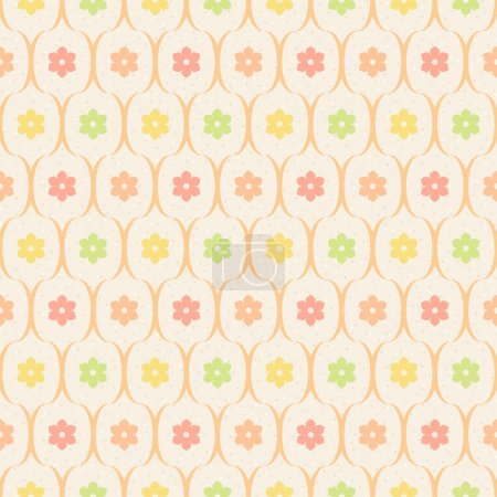 Color flowers and wavy lines on beige dotted background
