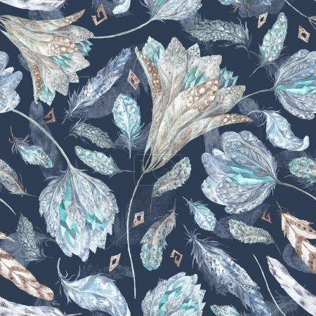Photo for Seamless texture with feathers, flowers and crystals isolated on dark blue background for textile and wallpaper design - Royalty Free Image
