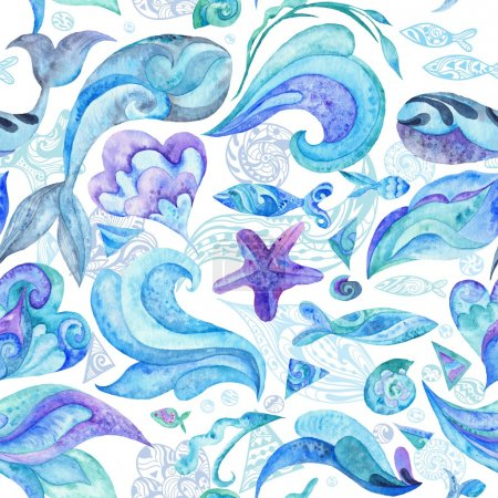 Photo for Nautical underwater texture with fishes, whales, starfishes, shells and waves isolated on white background for wallpaper and fabric design - Royalty Free Image