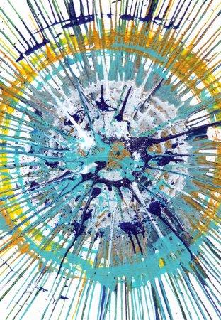 Photo pour Dessin de blob acrylique art contemporain coloré style Jackson Pollock - image libre de droit