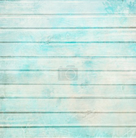 Photo for Rustic old plank background in turquoise, mint and beige colors with textured scratches and antique cracked paint for scrapbooking and decoupage - Royalty Free Image