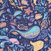 Cute blue pattern with sea animals