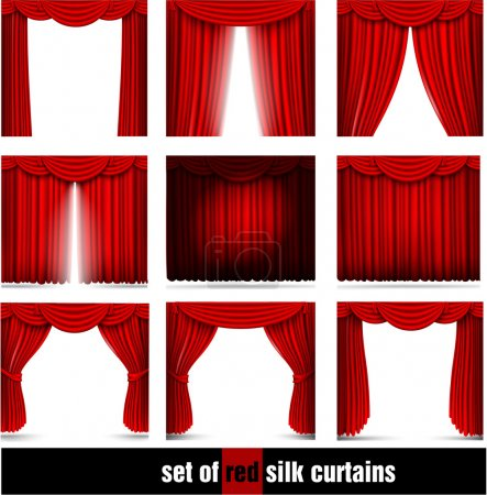 Illustration for Set of red silk curtains with shadows and lights. Vector illustration - Royalty Free Image