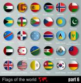 Flags of all countries  with shadows