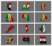 Flags in the form of states with shadows