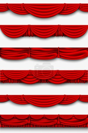 Illustration for Red silk set Pelmet and silk red curtains vector - Royalty Free Image