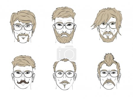 Faces with hairstyles and glasses
