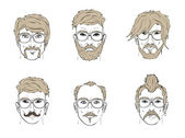 Faces with hairstyles and glasses on white background